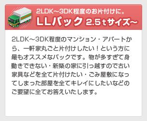 2LDK~3DK程度のお片づけに。LLパック 2.5tサイズ~